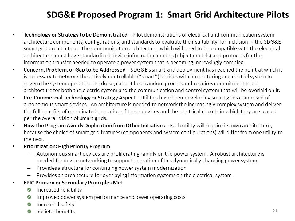 SDG&E Proposed Program 2: Distributed Control for Smart Grids