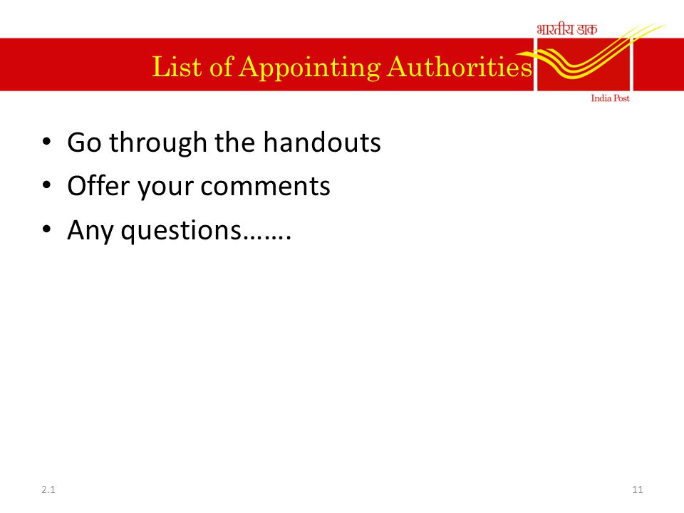 List of Appointing Authorities