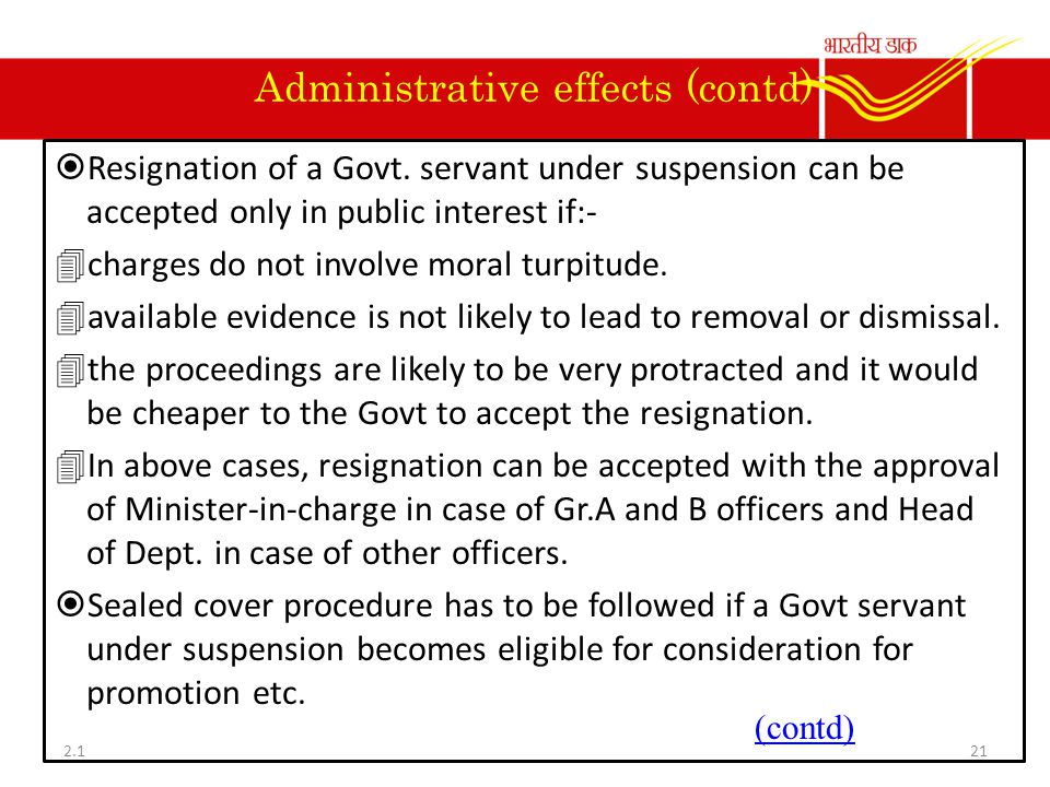Administrative effects (contd)