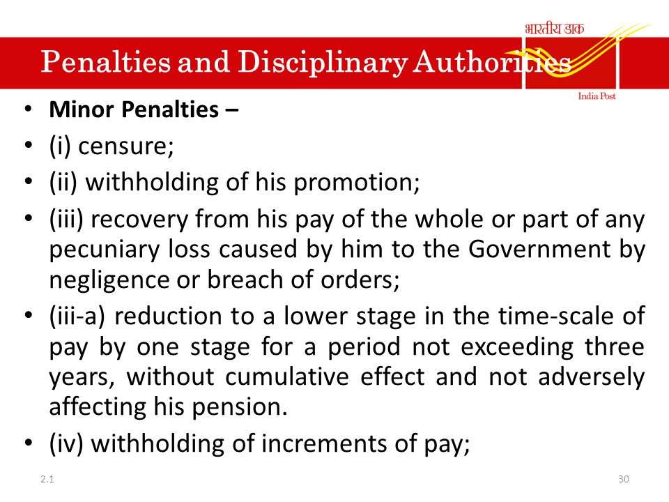 Part V- Penalties and Disciplinary Authorities
