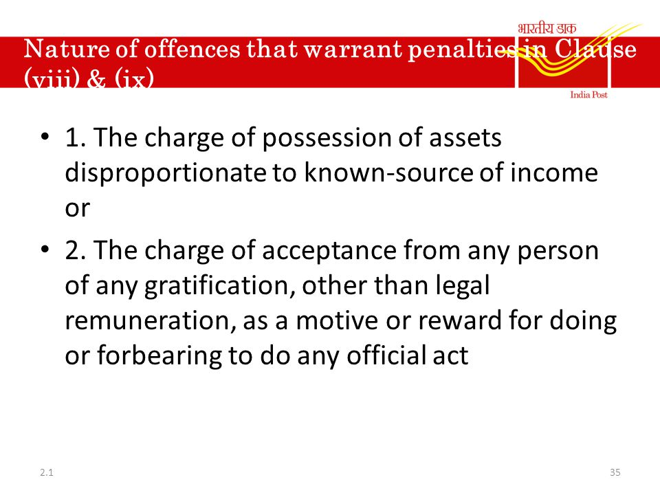 Nature of offences that warrant penalties in Clause (viii) & (ix)