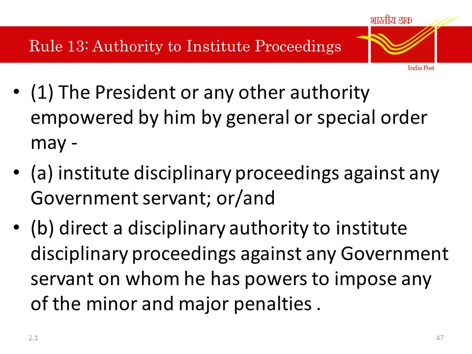 Rule 13: Authority to Institute Proceedings