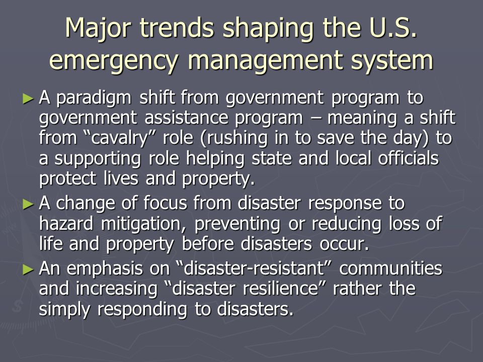 Major trends shaping the U.S. emergency management system