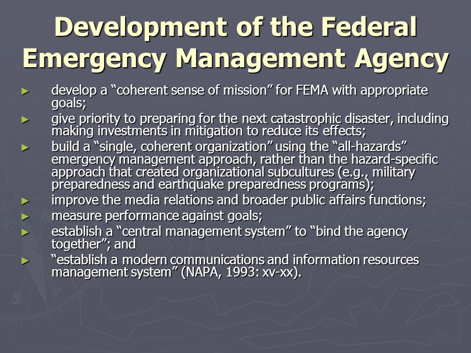 Development of the Federal Emergency Management Agency