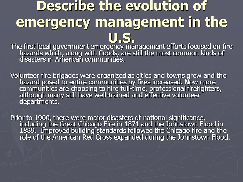 Describe the evolution of emergency management in the U.S.