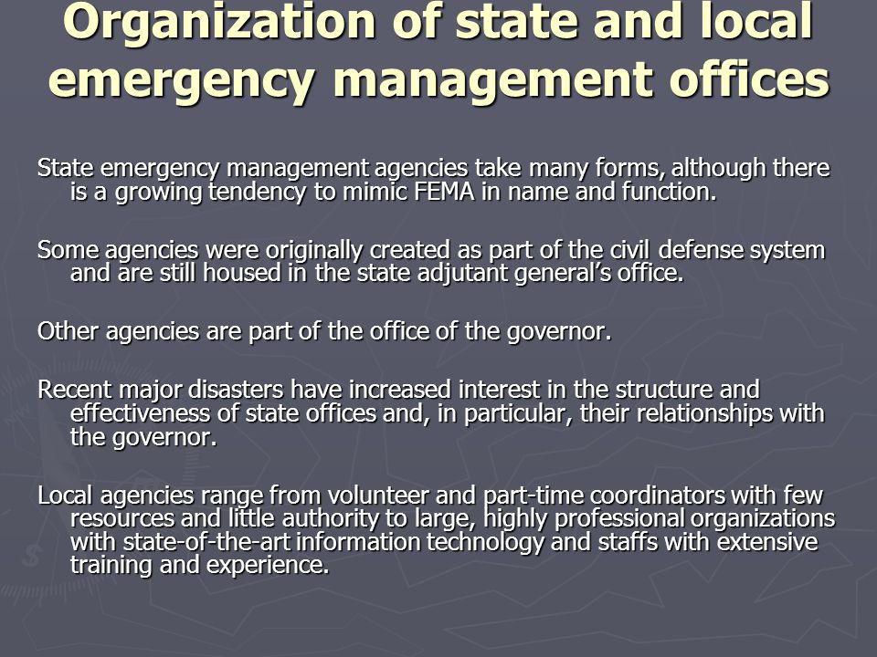 Organization of state and local emergency management offices