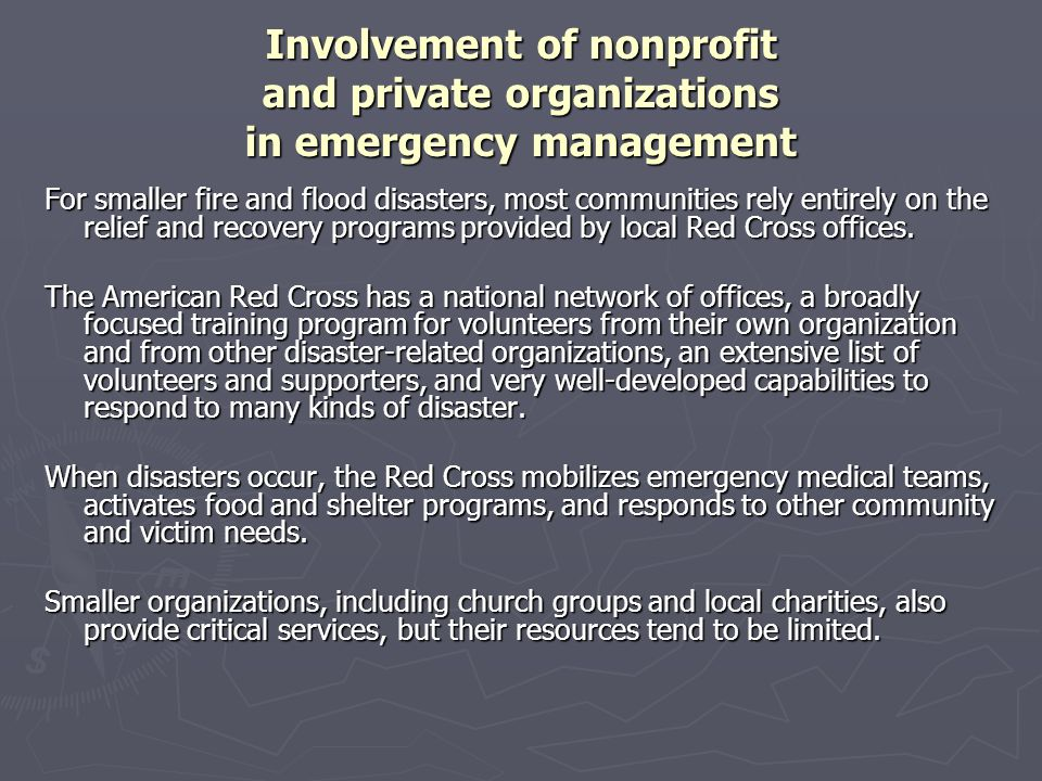 Involvement of nonprofit and private organizations in emergency management