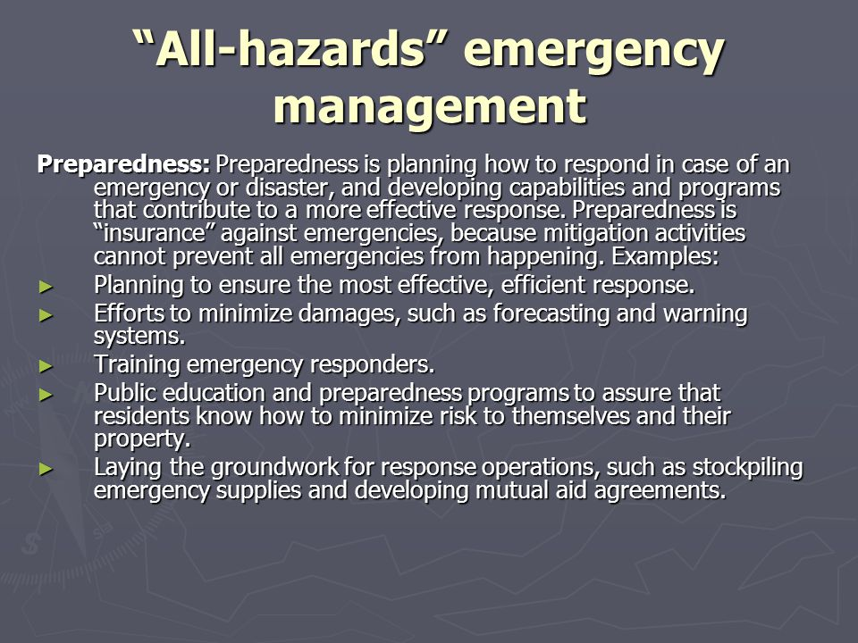 All-hazards emergency management