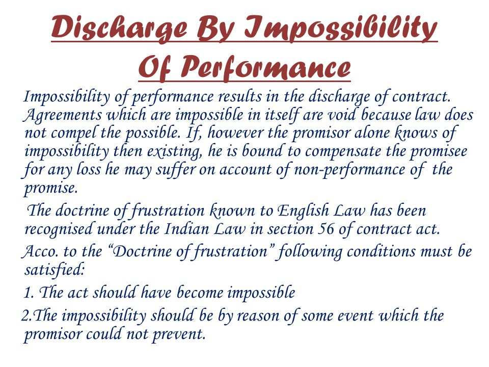 Discharge By Impossibility Of Performance