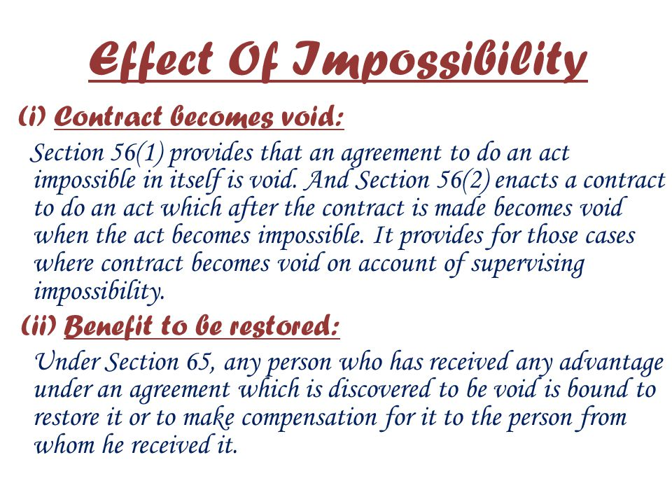 Effect Of Impossibility