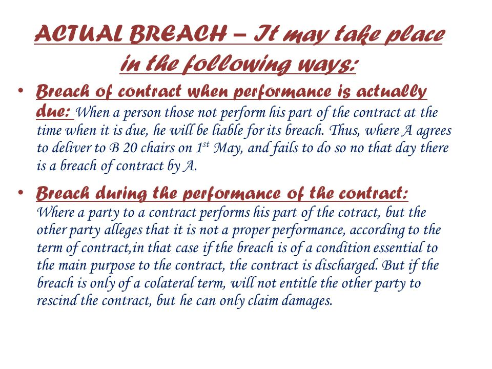 ACTUAL BREACH – It may take place in the following ways: