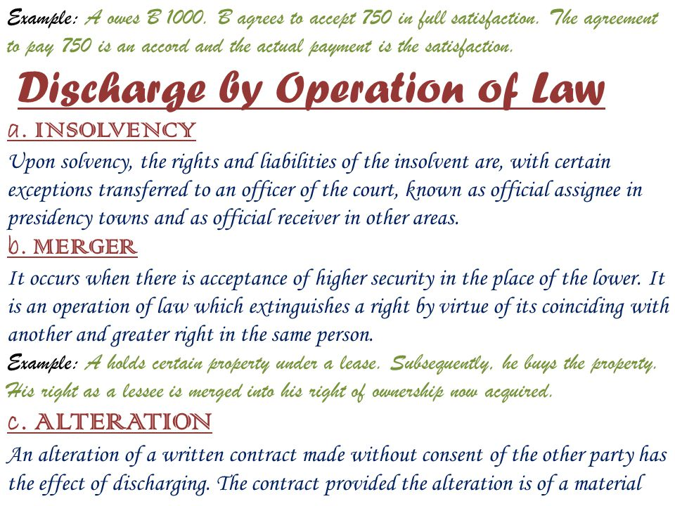 Example: A owes B 1000. B agrees to accept 750 in full satisfaction