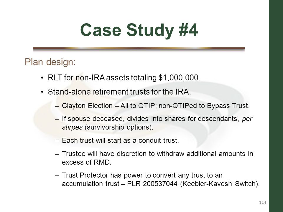 Case Study #4 Plan design: RLT for non-IRA assets totaling $1,000,000.