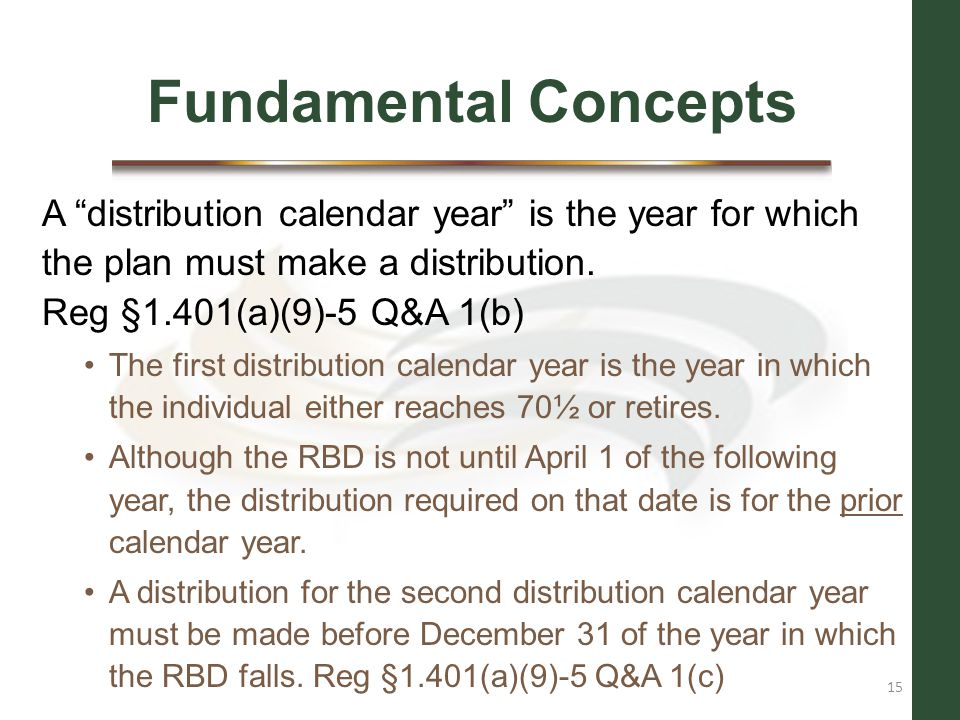 Fundamental Concepts A distribution calendar year is the year for which the plan must make a distribution. Reg §1.401(a)(9)-5 Q&A 1(b)