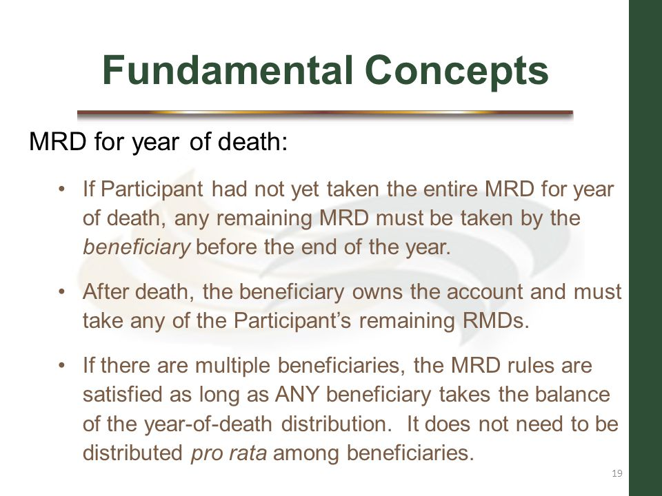 Fundamental Concepts MRD for year of death: