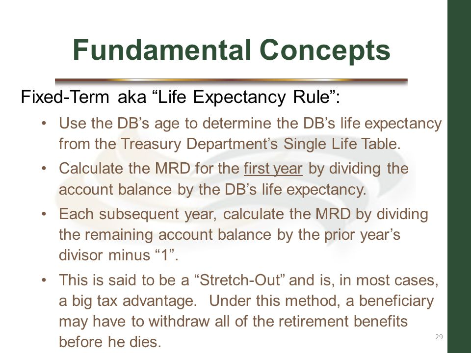 Fundamental Concepts Fixed-Term aka Life Expectancy Rule :