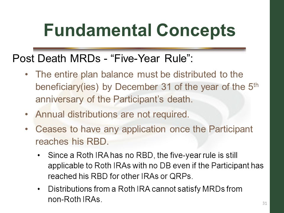 Fundamental Concepts Post Death MRDs - Five-Year Rule :