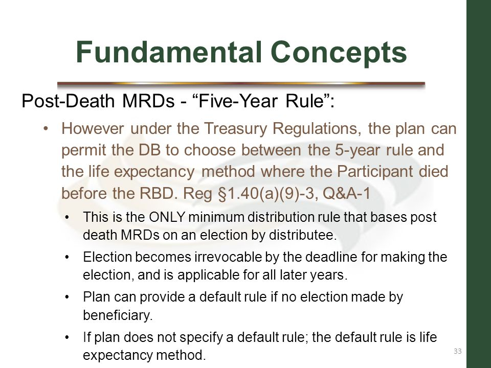 Fundamental Concepts Post-Death MRDs - Five-Year Rule :