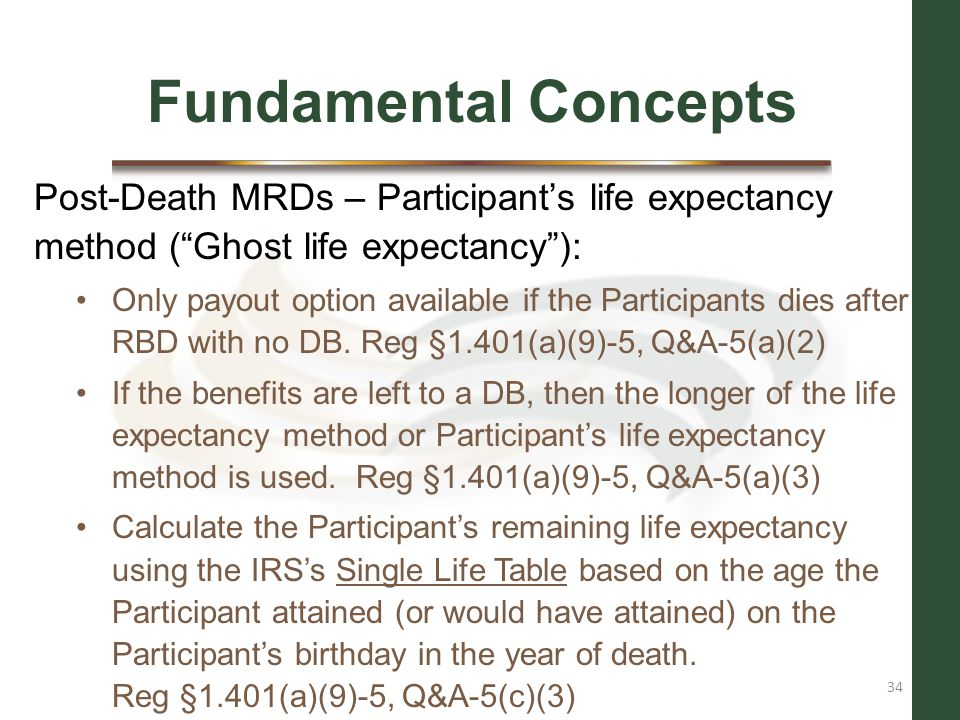 Fundamental Concepts Post-Death MRDs – Participant's life expectancy method ( Ghost life expectancy ):