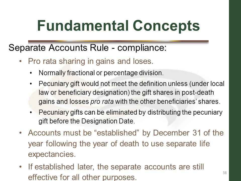 Fundamental Concepts Separate Accounts Rule - compliance: