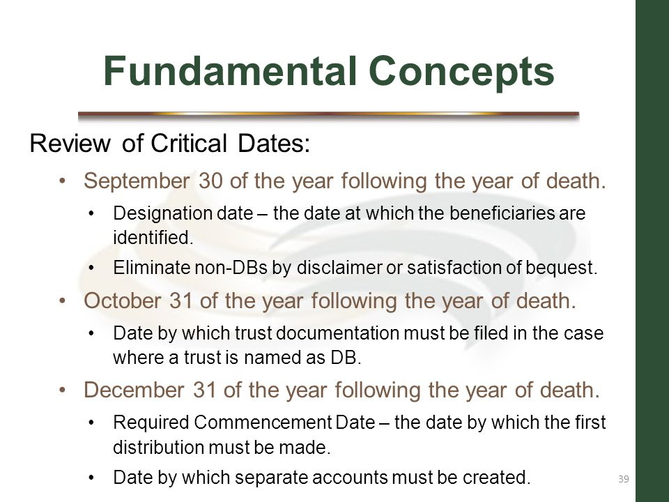 Fundamental Concepts Review of Critical Dates: