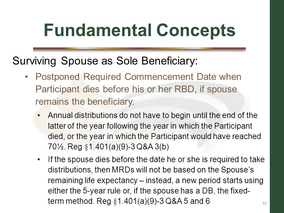 Fundamental Concepts Surviving Spouse as Sole Beneficiary: