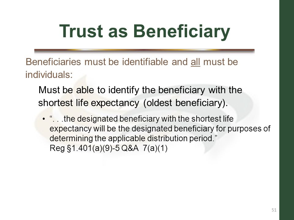 Trust as Beneficiary Beneficiaries must be identifiable and all must be individuals: