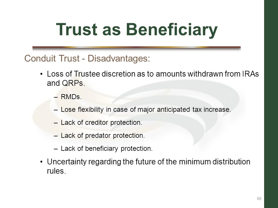 Trust as Beneficiary Conduit Trust - Disadvantages: