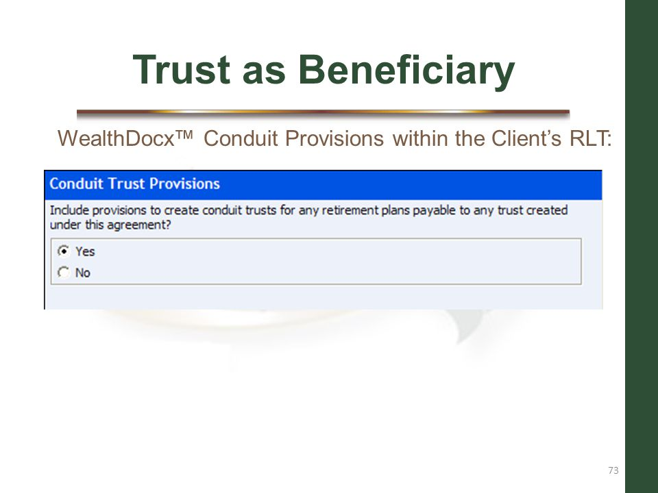 Trust as Beneficiary WealthDocx™ Conduit Provisions within the Client's RLT: