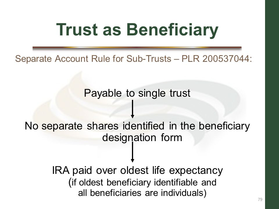Trust as Beneficiary Payable to single trust