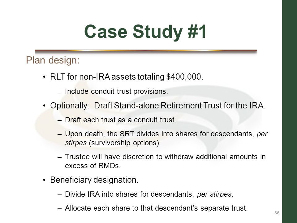 Case Study #1 Plan design: RLT for non-IRA assets totaling $400,000.