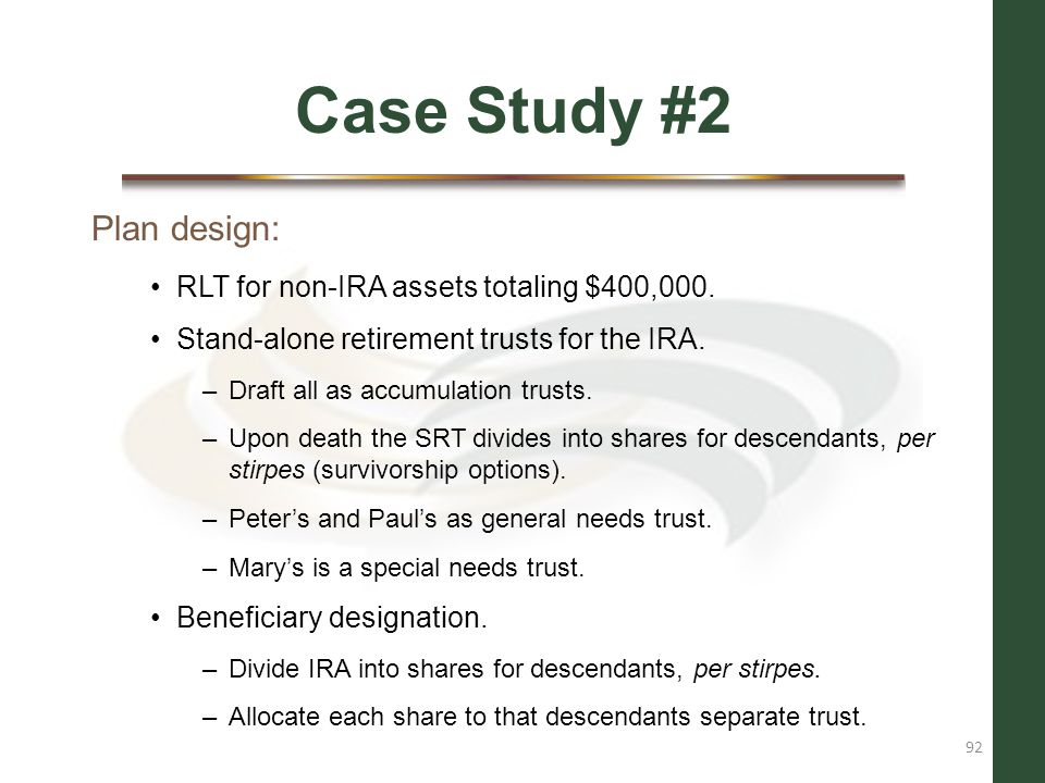 Case Study #2 Plan design: RLT for non-IRA assets totaling $400,000.