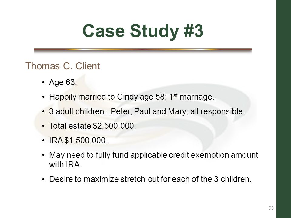 Case Study #3 Thomas C. Client Age 63.