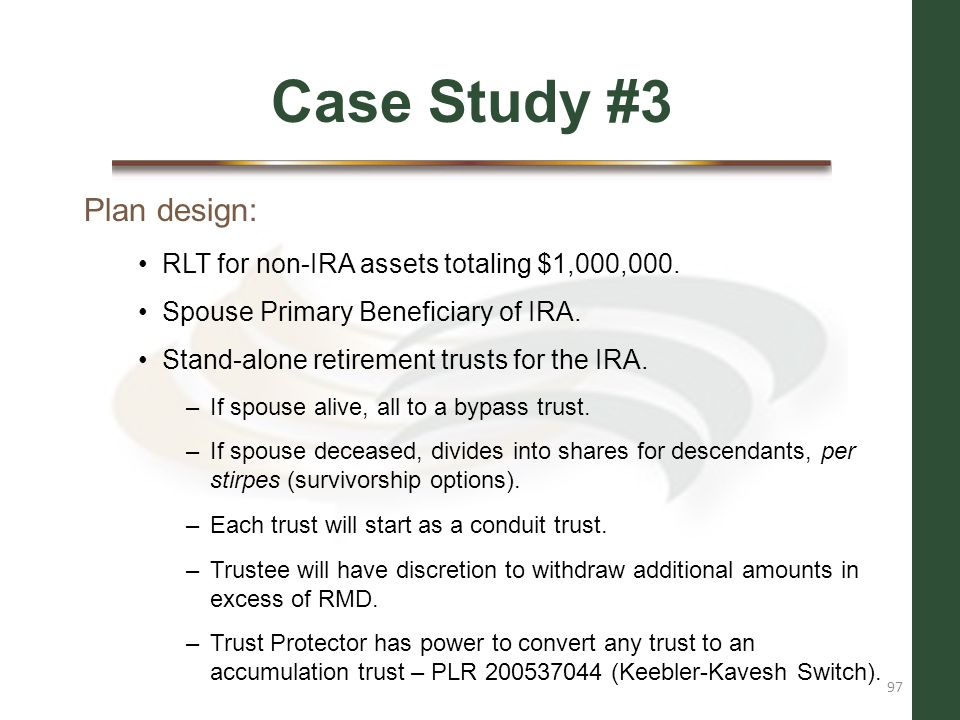 Case Study #3 Plan design: RLT for non-IRA assets totaling $1,000,000.