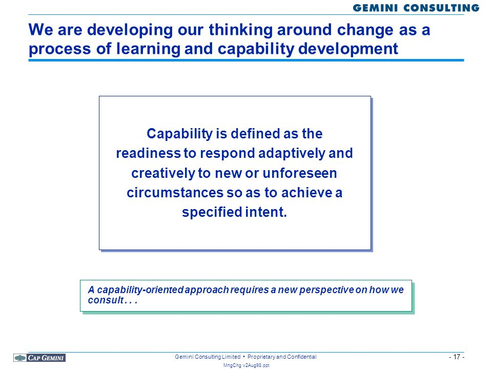 We are developing our thinking around change as a process of learning and capability development