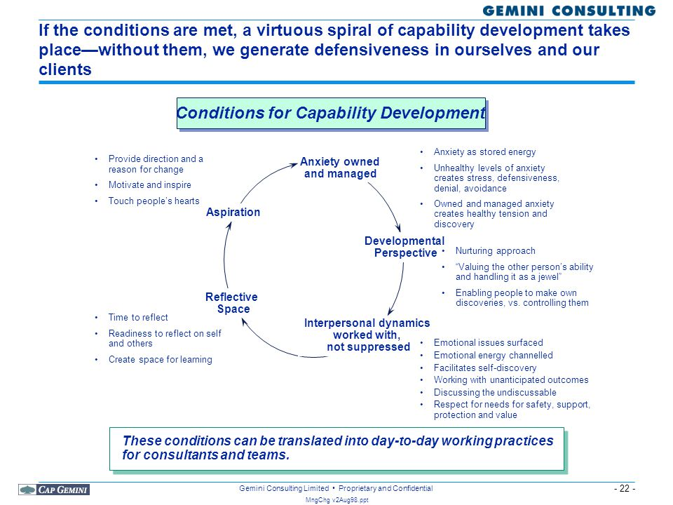 Conditions for Capability Development Interpersonal dynamics
