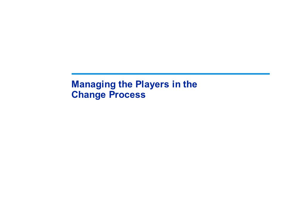 Managing the Players in the Change Process