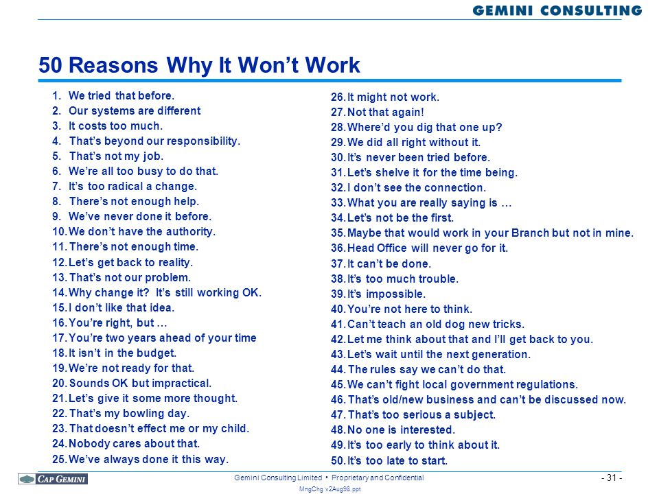 50 Reasons Why It Won't Work
