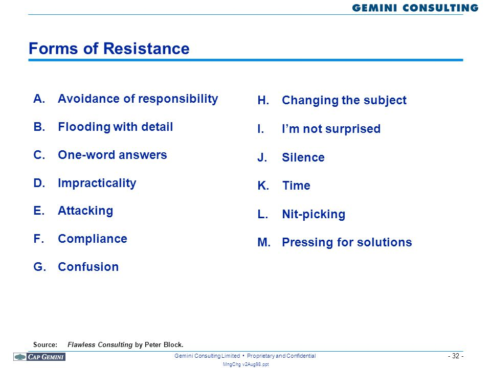 Forms of Resistance A. Avoidance of responsibility