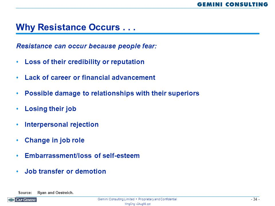 Why Resistance Occurs . . . Resistance can occur because people fear: