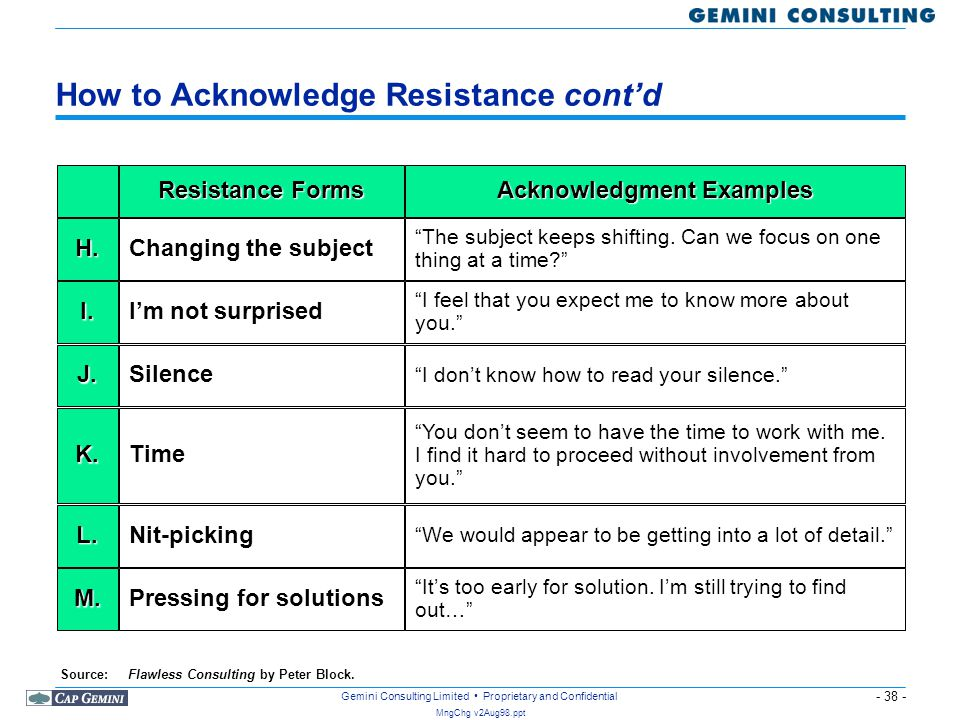 How to Acknowledge Resistance cont'd