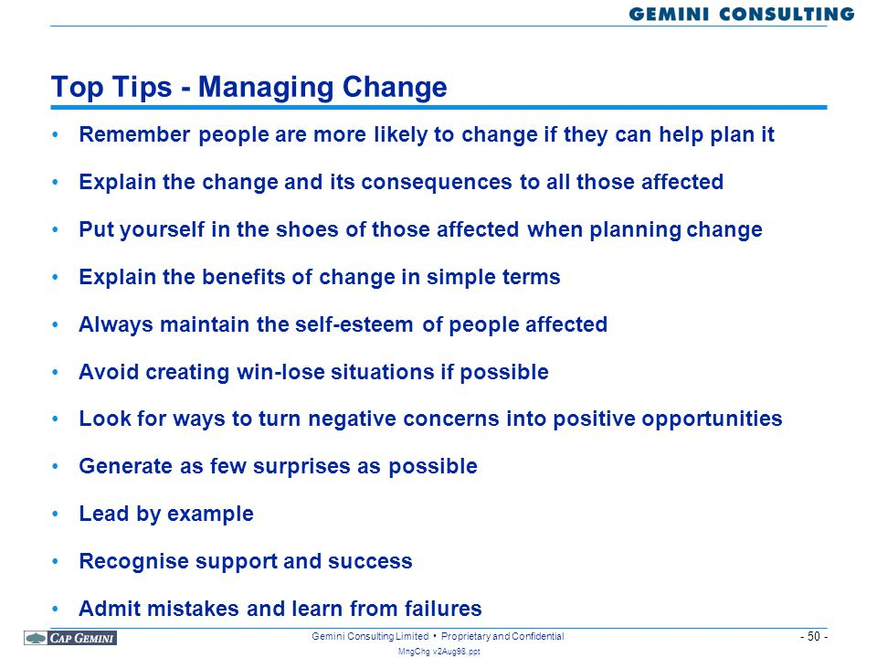 Top Tips - Managing Change