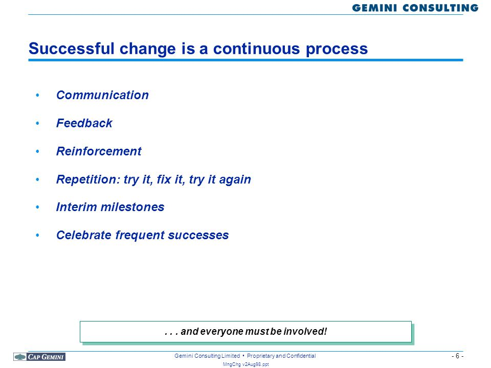 Successful change is a continuous process