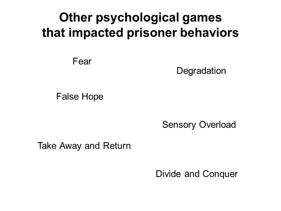 Other psychological games that impacted prisoner behaviors