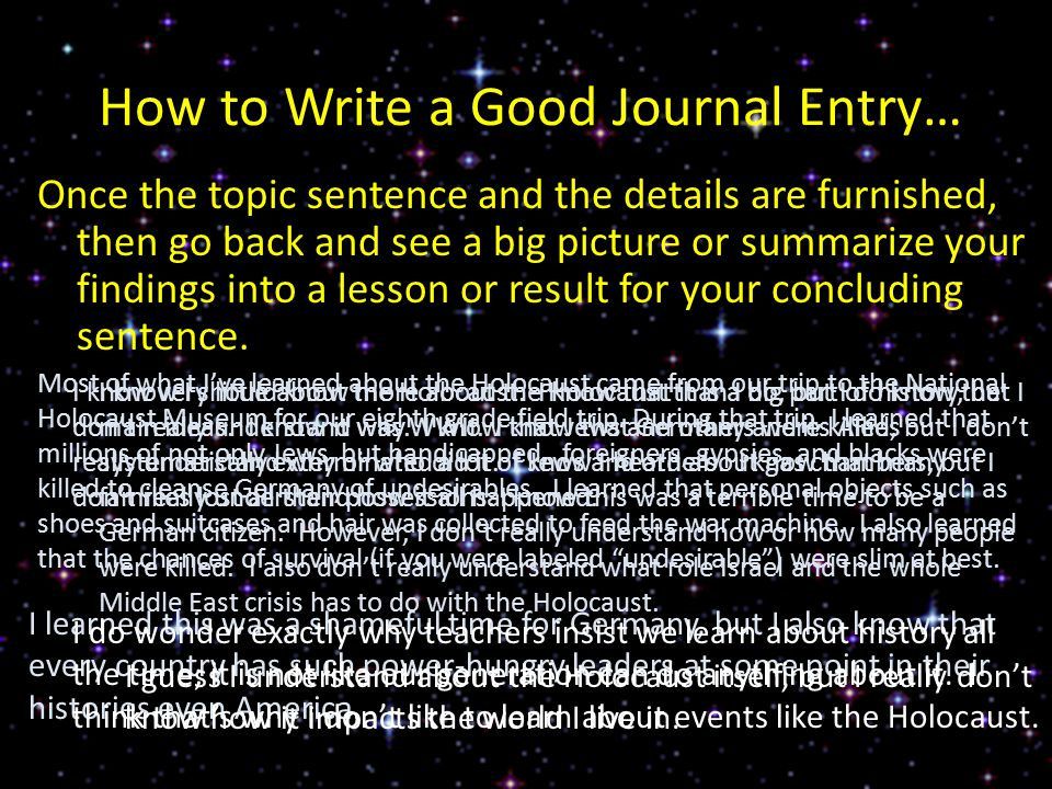 How to Write a Good Journal Entry…