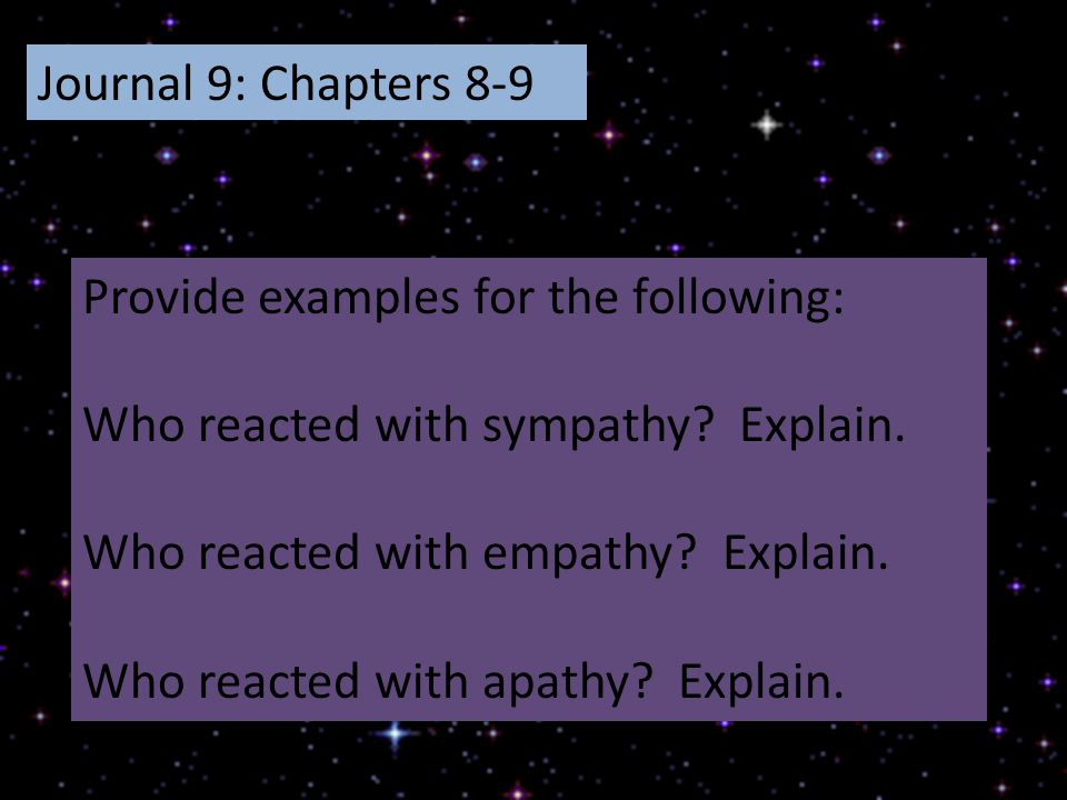 Journal 9: Chapters 8-9 Provide examples for the following: Who reacted with sympathy Explain. Who reacted with empathy Explain.