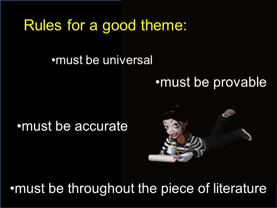 Rules for a good theme: must be provable must be accurate