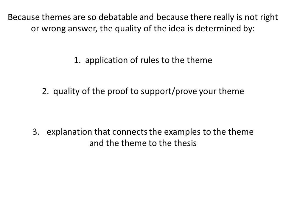 1. application of rules to the theme