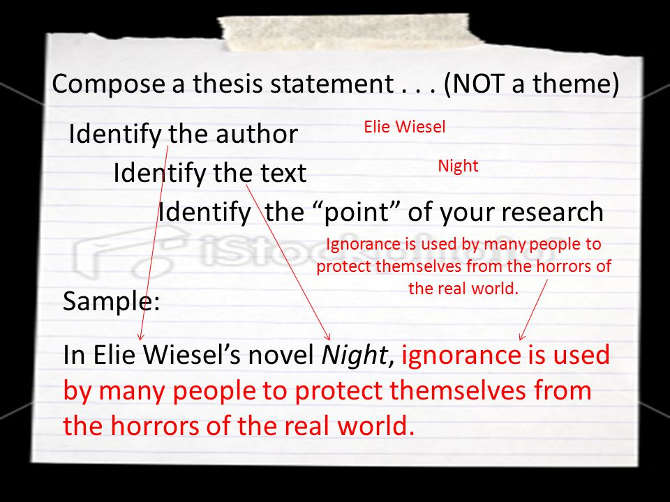 Compose a thesis statement . . . (NOT a theme)
