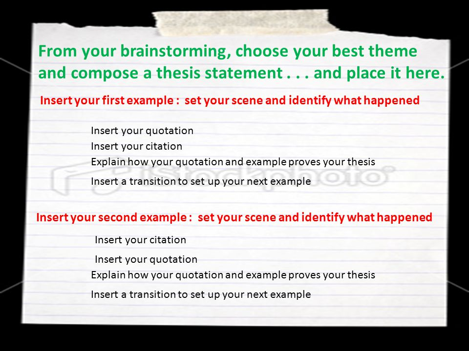 From your brainstorming, choose your best theme and compose a thesis statement . . . and place it here.